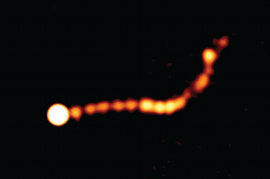 Supersonic cosmic jet coming from supermassive black hole