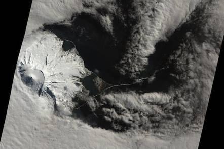 NASA Earth Observatory image of a likely volcanic eruption on Heard Island's Mawson peak