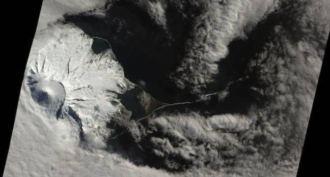 NASA Earth Observatory image of a likely volcanic eruption on Heard Island's Mawson peak