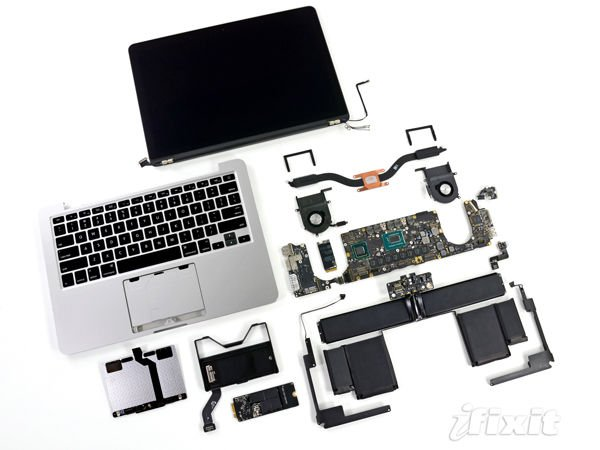 All the parts of a 13-inch MacBook Pro with Retina Display