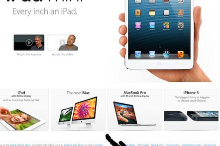 Apple's apology UK homepage, credit screengrab