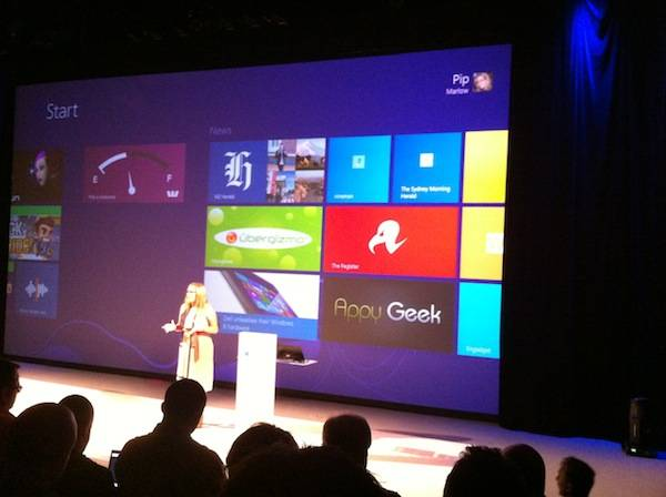 El Reg featured at the launch of WIndows 8 in Australia