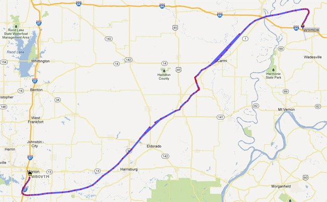 The track of the Geronimo balloon as seen on aprs.fi