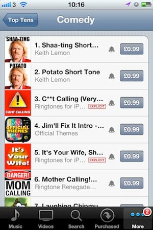 The iTunes Ringtone store, comedy top ten, screengrab