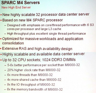 Specifications of the Sparc M4 processor and systems