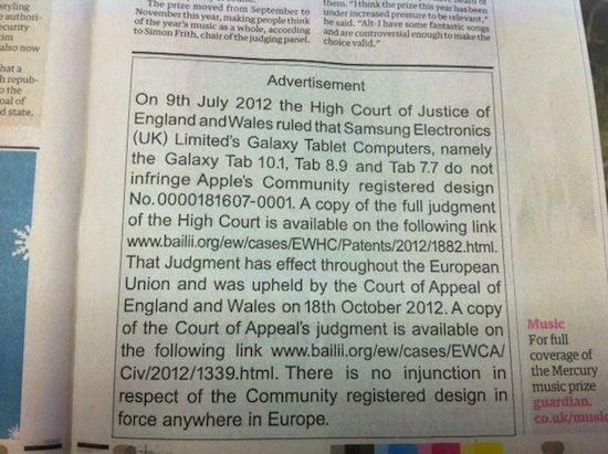 Apple's statement in the Guardian regarding Samsung case, credit The Register
