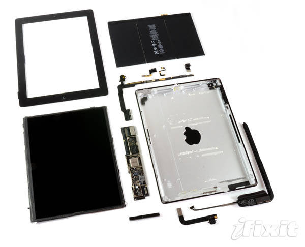 Fourth-generation iPad – all parts after teardown