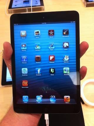An iPad Mini held in one hand in portrait mode