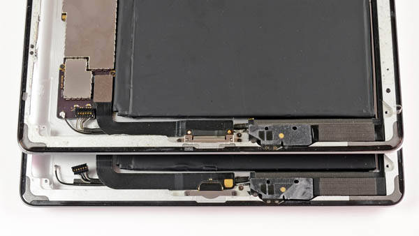 Fourth-generation iPad – Lightning port compared with third-generation iPad's 30-pin connector