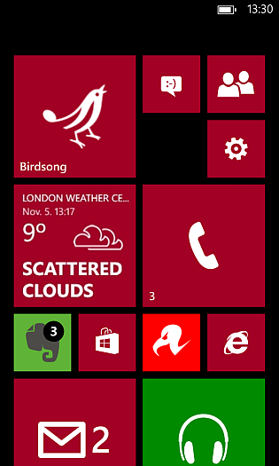 Nokia Lumia 920 Home Screen with variable sized tiles