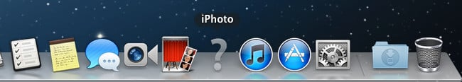 An iPhoto icon is missing in the Mac OS X Dock