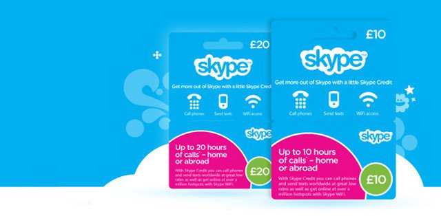 Skype top-up cards