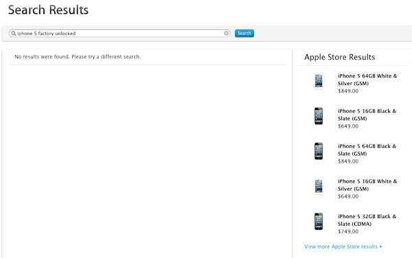 Apple appears to have accidentally published the prices of the unlocked iPhone 5, credit screengrab Apple site