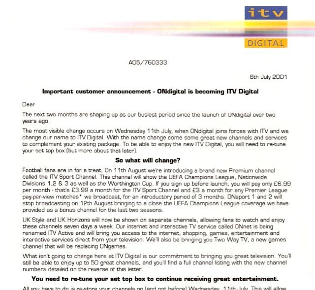 ONdigital changes to ITV Digital