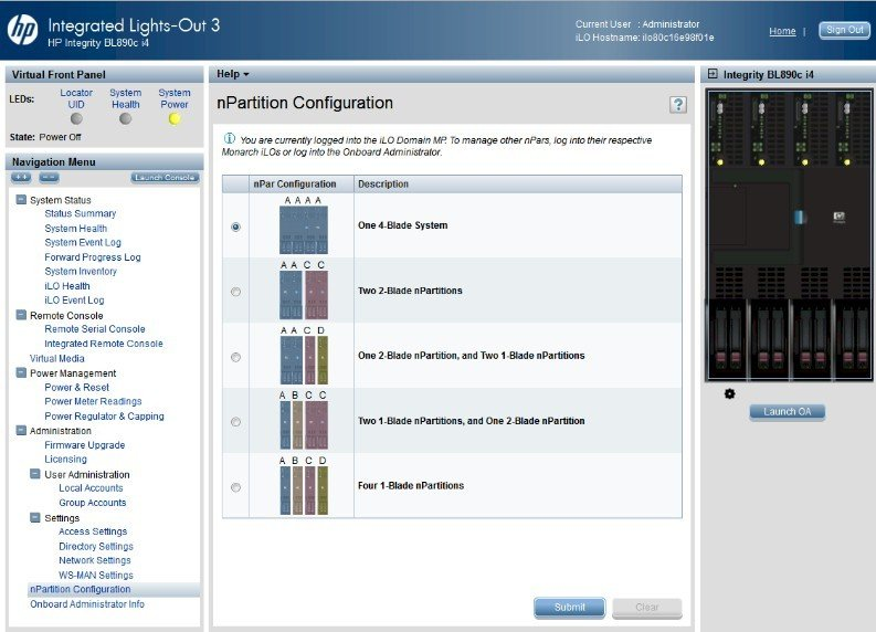 HP's ILO management console control freaking nPars