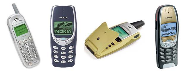 Motorola Timeport, Nokia 3310, Ericsson T36 and Nokia 6310i