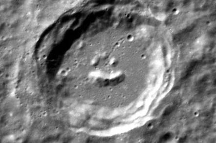 Image of 'smiley face' crater photographed by NASA's Messenger Mercury orbiter