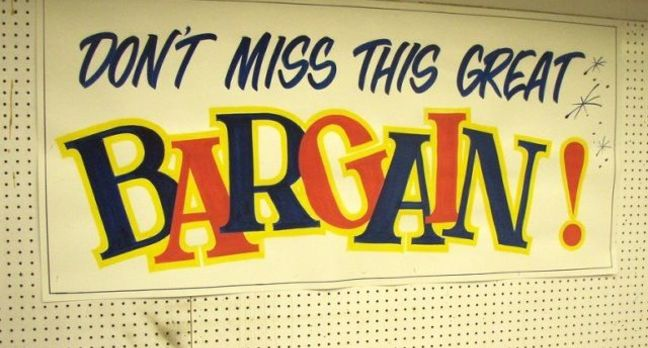 Shop bargain sign