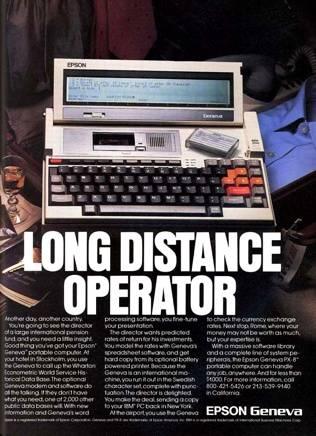 Epson PX-8 advert