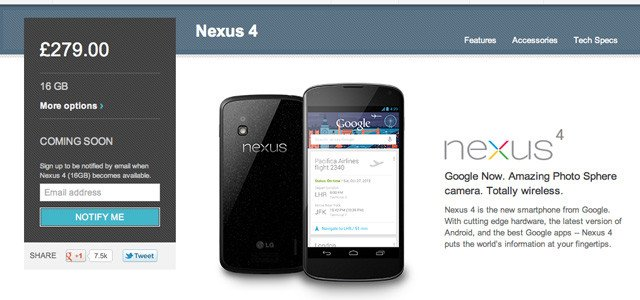 Nexus 4 on Google Play