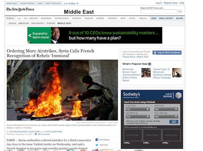 Screengrab of a New York Times article about Syria, that appears to illustrate the story with a stil from a Game