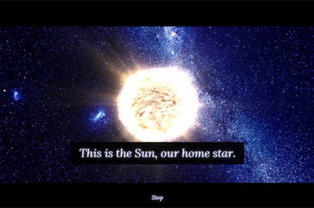 Screenshot from 100,000 Stars app showing our Sun