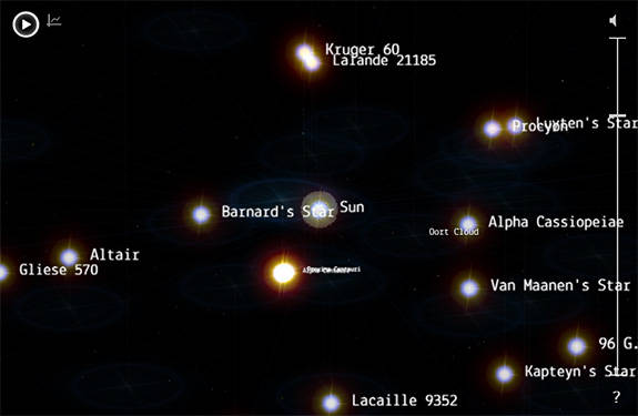 Screenshot from 100,000 Stars app showing local, named stars