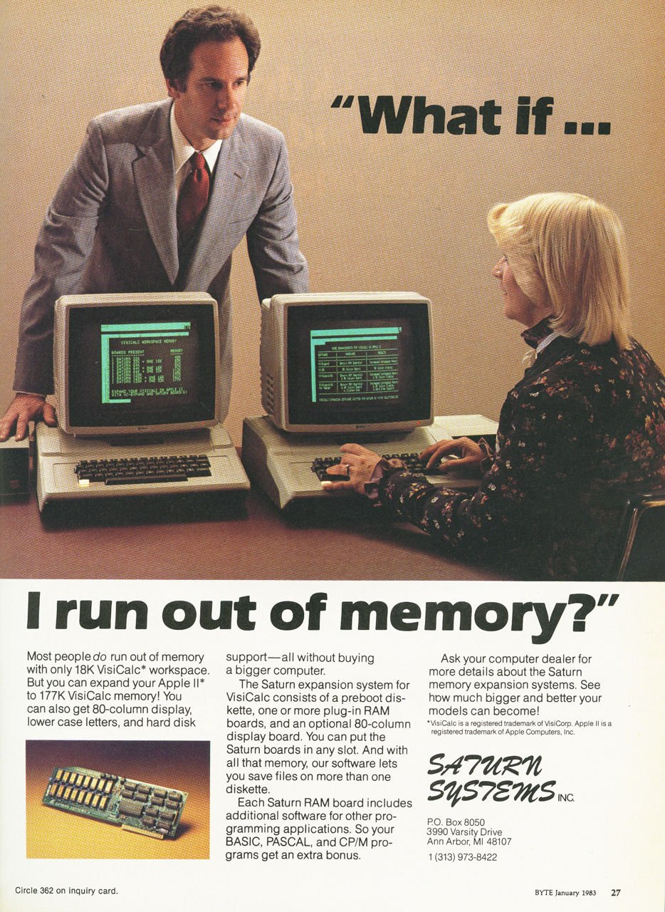 The Early Days Of Pcs As Seen Through Dead Trees Register Circuit Boards Find New Life Notebooks Soul Magazine January 1983 Byte Saturn Visicalc Memory Board Ad