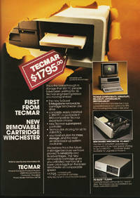January 1983 Byte magazine – Tecmar removable Winchester disk ad