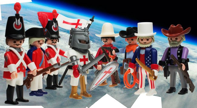 Playmobil confrontation between knight of St George and redcoats, and Uncle Sam and cowboys