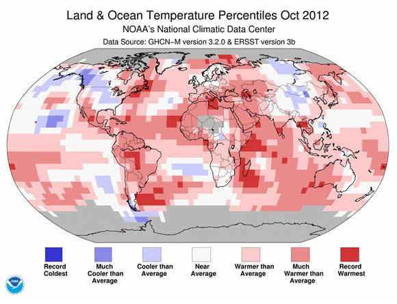 NOAA land & ocean temperature percentiles, October 2012