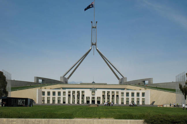 Parliament House Canberra by Flickr user OzMark17 used under CC Share and Share alike licence