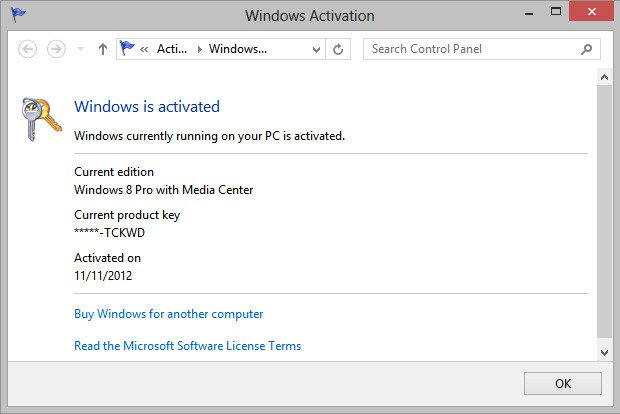 Dialog box showing Windows 8 Pro with Media Center activated