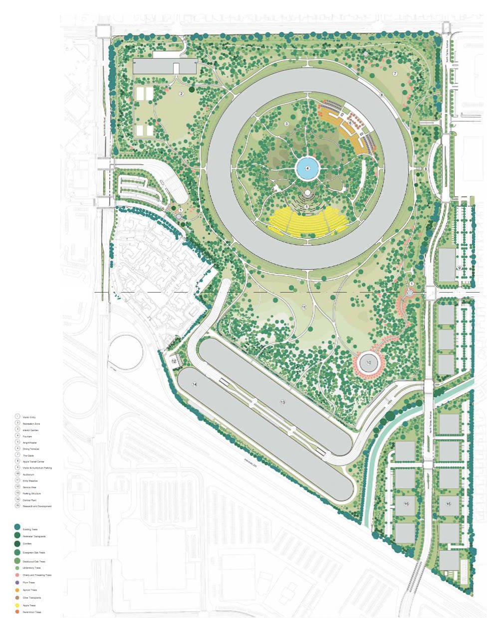 Apple reveals complete updated blueprints of spaceship jobs the apples new cupertino campus landscaping malvernweather Images
