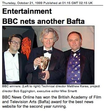 Matthew Karas and two others with BAFTA award