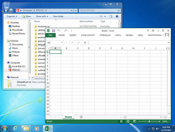 Screenshot of Office 2013 running on Windows 7
