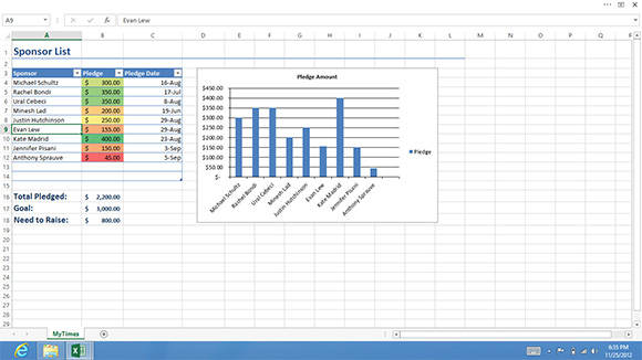 Screenshot of Excel 2013 with the Ribbon hidden