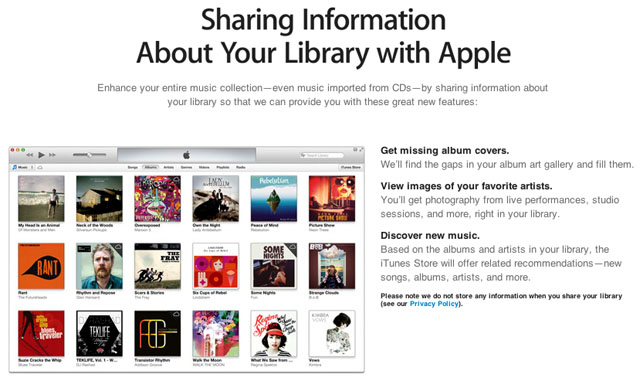 iTunes 11 sharing info