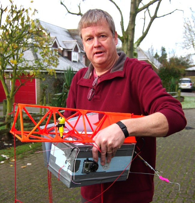 Neil with the styrofoam payload box and flying truss