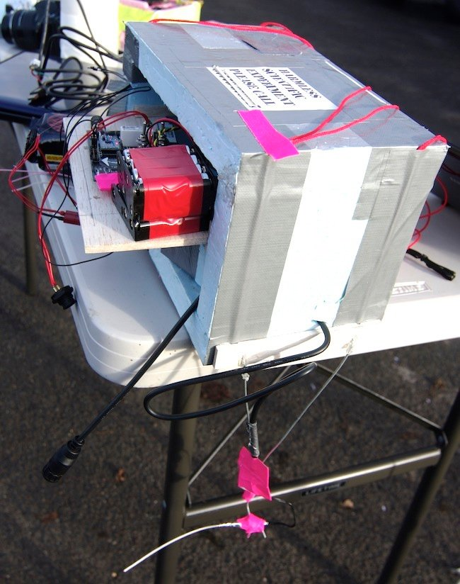 The SPEARS board with batteries in place and igniter connected