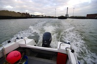 The view behind the boat as we exited Shoreham harbour