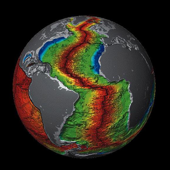 The plate crust under the Atlantic Ocean