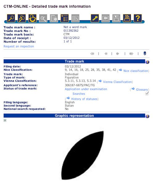 Apple leaf trademark application, screengrab EU trademark registry