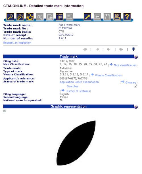 Apple leaf trademark application, screengrab EU trademark registry