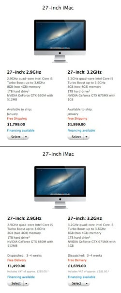 27-inch iMac listings on Apple's US and UK online stores