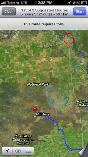 iOS6 Maps say Mildura is here but it is really 70kms away in the red circle