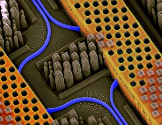 Optical waveguides, in blue of course, on IBM's silicon nanophotonics chip