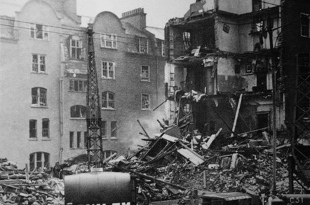 The block of flats at Coronation Avenue, seen after the bombing