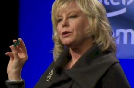 Diane Bryant, GM of Intel, holds an Atom S1200