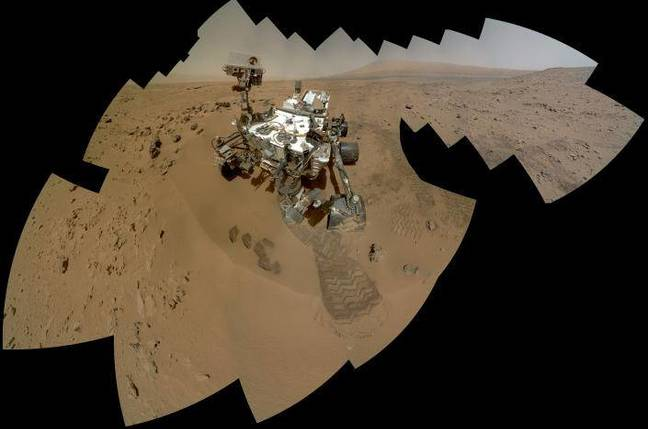 A self-portrait taken by the curiosity rover